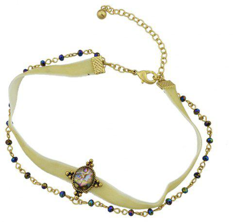 Velour Chain with Colorful Bead Short Necklace - BEIGE