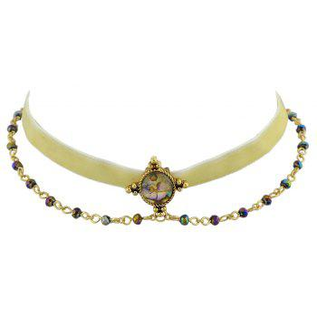 Velvet Chain with Colorful Bead Short Necklace - BEIGE