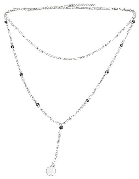 Multi Layer Chain with Round Geometry Shape Necklace - SILVER