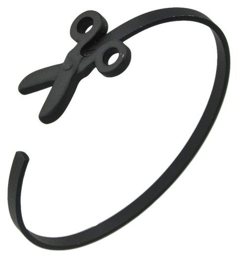 Minimalist Metal Scissors Open Cuff Bracelet - BLACK