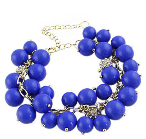 Metal Chain with Bead Charm Strand Bracelet - BLUE
