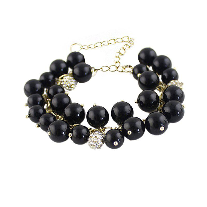 Metal Chain with Bead Charm Strand Bracelet - BLACK