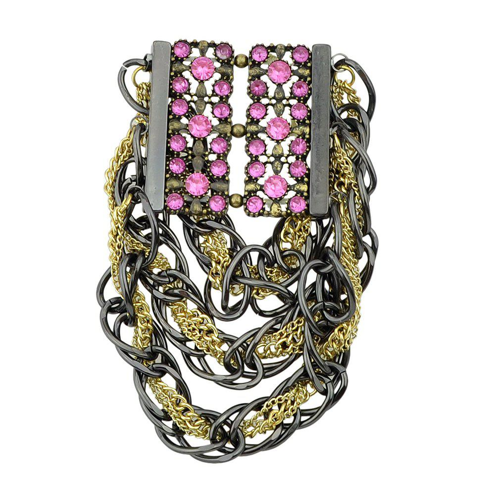 MultiLayer Chain with Rhinestone Statement Bracelt for Women - DEEP PINK
