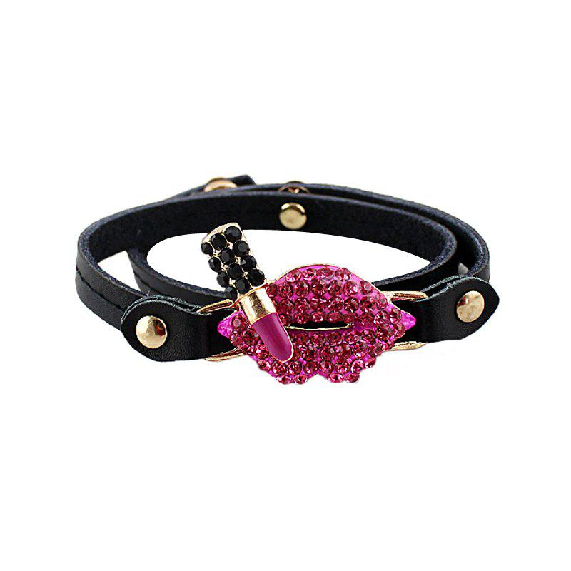 PU Leather with Rhinestone Lip Lipstick Bracelet - BLACK