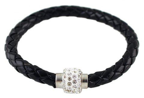 Multicolor PU Leather Braided Rope with Rhinestone Bracelet - BLACK