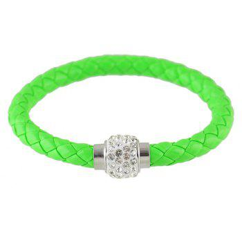 Multicolor PU Leather Braided Rope with Rhinestone Bracelet - GREEN