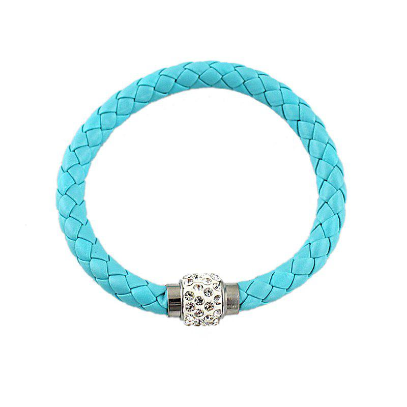Multicolor PU Leather Braided Rope with Rhinestone Bracelet - CELESTE