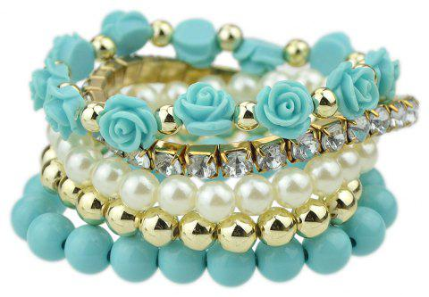 Multi Layer Bead Rhinestone Flower Bracelet - BLUE LAGOON
