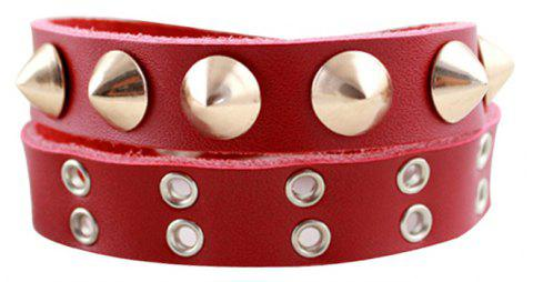 Rivet Multi-étages PU cuir Wrap Bracelet - Rouge Amour