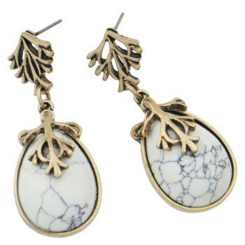 Colorful Turquoise Water Drop Hanging Earrings - WHITE