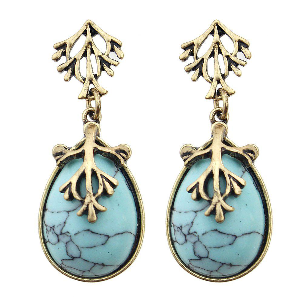 Colorful Turquoise Water Drop Hanging Earrings - JEANS BLUE