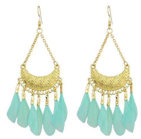 Colorful Feather Drop Earrings for Women - LIGHT AQUAMARINE