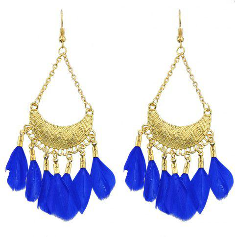 Colorful Feather Drop Earrings for Women - BLUE