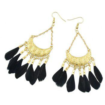 Colorful Feather Drop Earrings for Women - BLACK