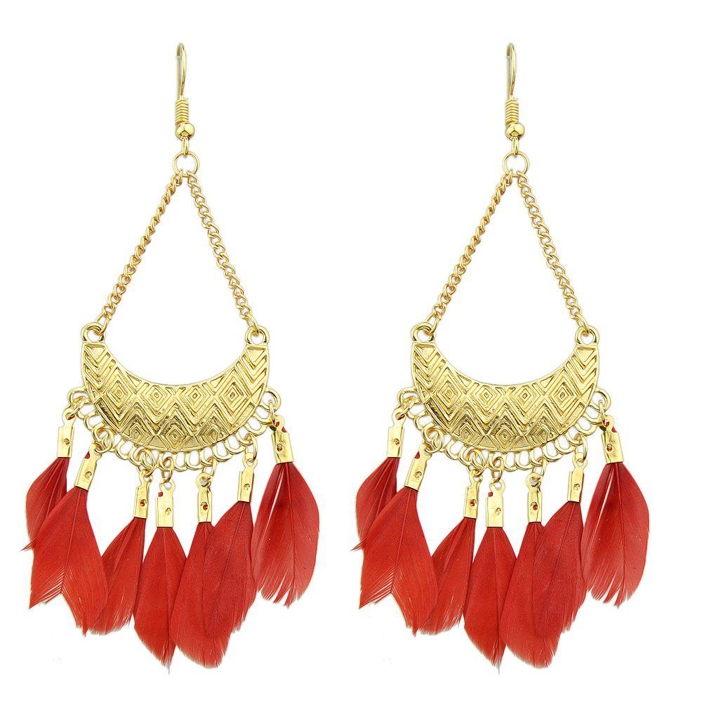 Colorful Feather Drop Earrings for Women - FERRARI RED