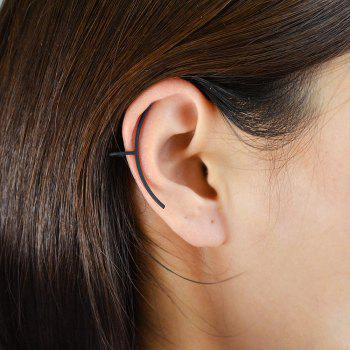 Simple Circular On Cuff Ear Clip Earring - BLACK