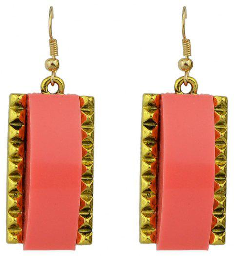 Acrylic Rectangle Metal Geometric Edge Earrings - BEAN RED