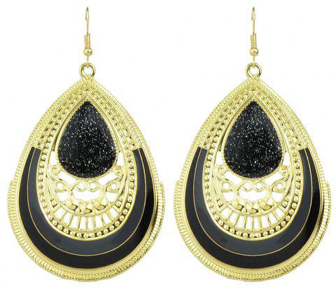 Colorful Enamel Big Water Drop Earrings for Women - BLACK