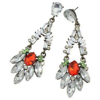 Colorful Rhinestone Flower Pendant Earrings Clove for Women - SILVER