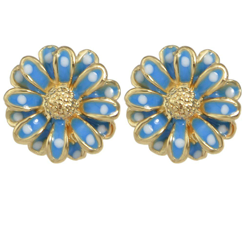 Lovely Enamel Sunflower Earrings for Women - CRYSTAL BLUE