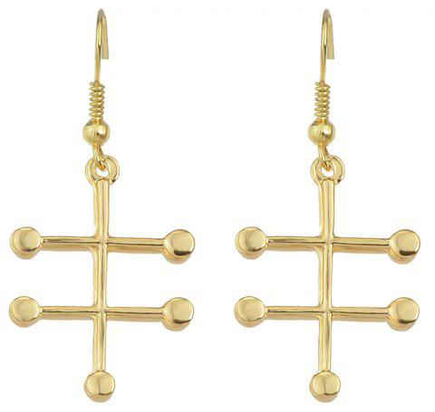 Chemical Molecules Geometric Metal Dangle Women Earrings - GOLD