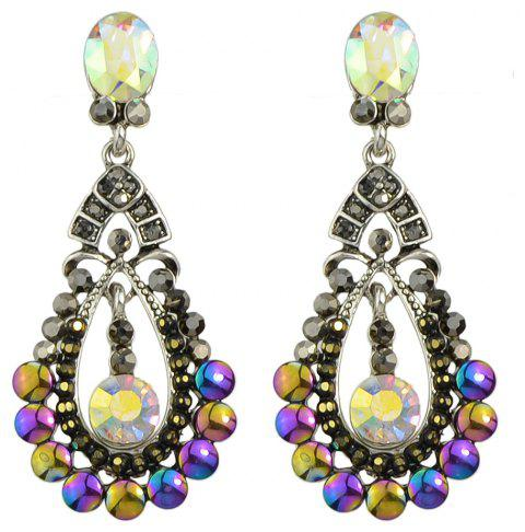 Coloful Rhinestone Water Drop Dangle Earrings for Women Jewelry - SILVER