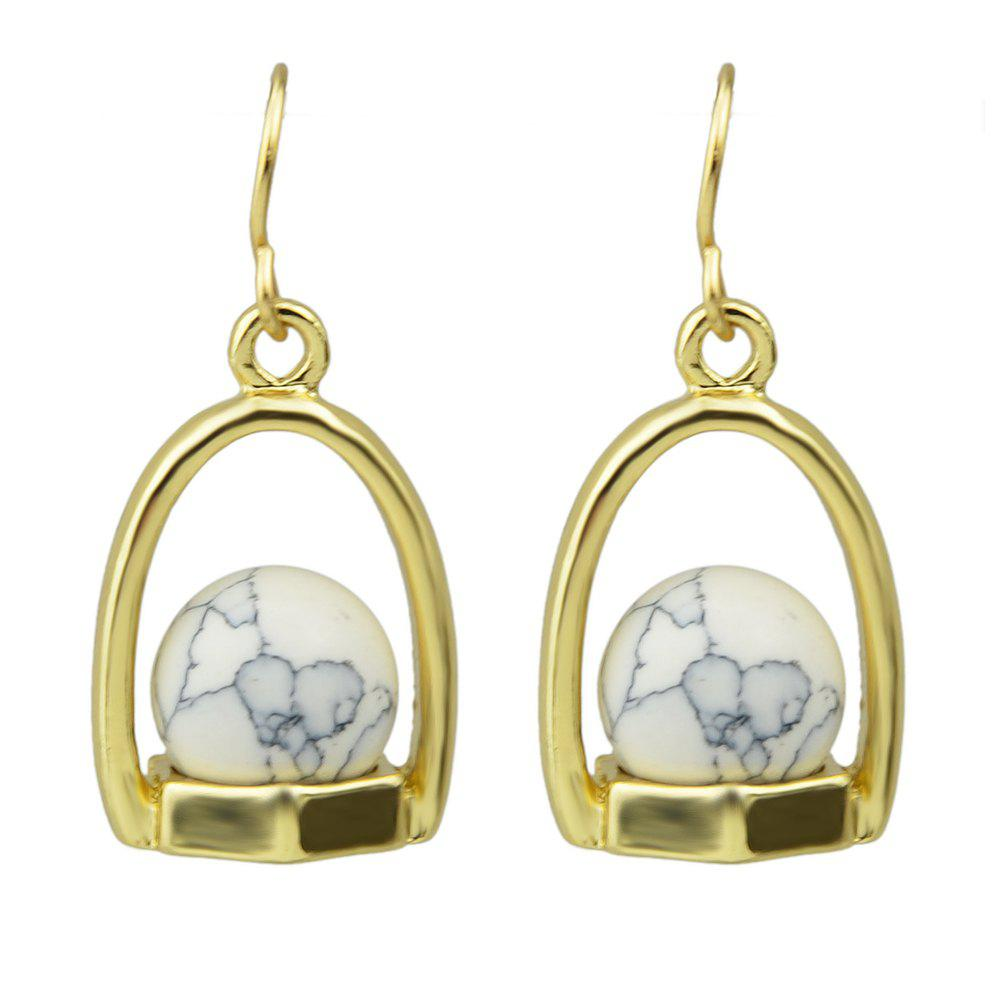 Metal with Bead Turquoise Drop Earrings for Women - WHITE
