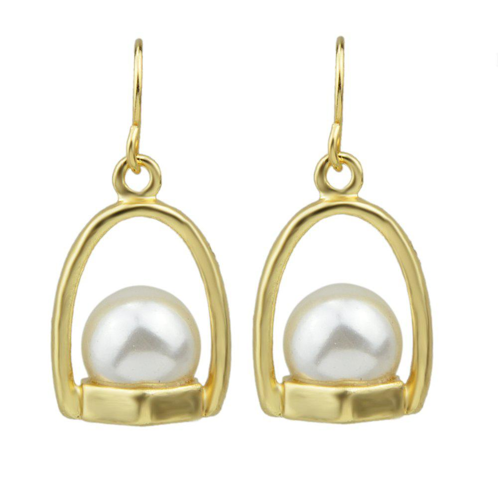 Metal with Bead Turquoise Drop Earrings for Women - WARM WHITE