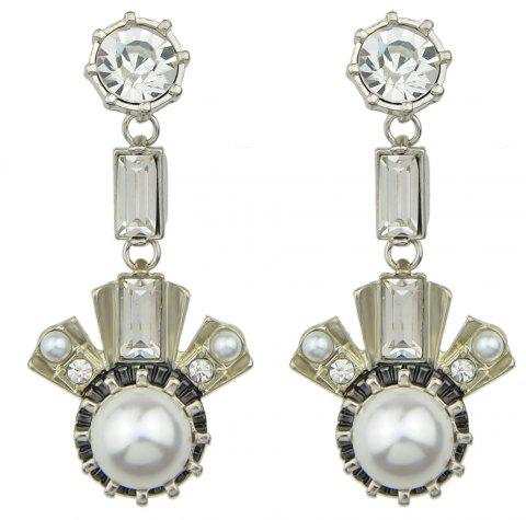 Luxurious Rhinestone Dangle Earrings for Women - SILVER