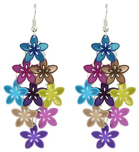Beautiful Colorful Multi Level Flower Earrings for Women - multicolor A