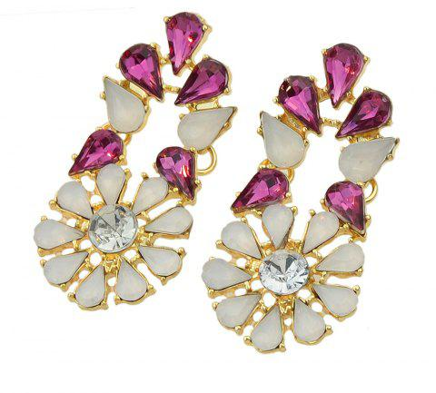 Rhinestone Hollow-out Drop Earrings for Women - ROSE RED