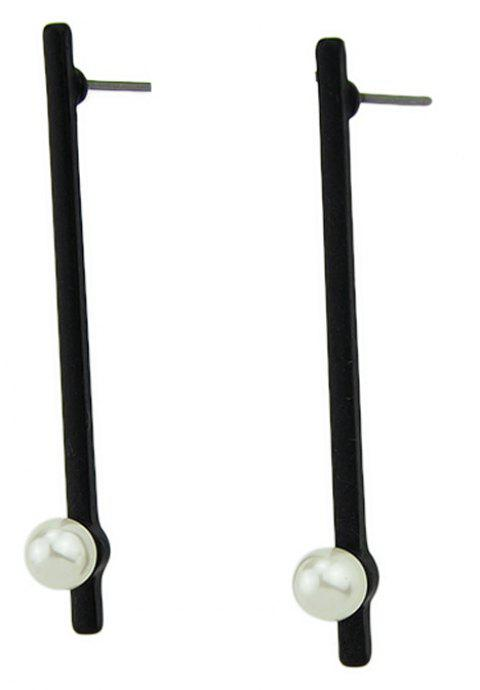 Minimalist Metal Vertical Bead Earrings for Women - BLACK