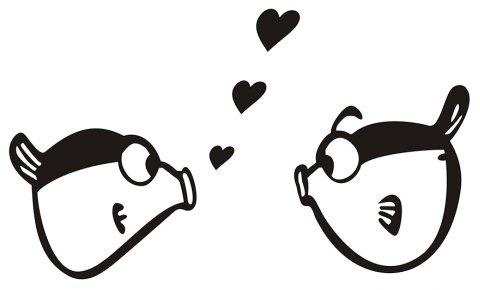 Art Creative Notebook Refrigerator Trunk Kissing Fish Sticker Ba-015 - BLACK