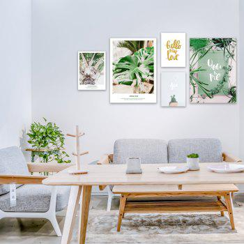 5PCS W422 Letter Plant Unframed Wall Canvas Print for Home Decoration - multicolor