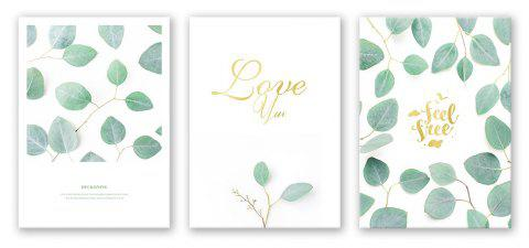 3PCS W423 Leaf Letter Unframed Canvas Print for Home Decoration - multicolor 50CM X 70CM X 3PCS