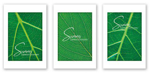 3PCS W433 Leaf Letter Texture Unframed Canvas Print for Home Decoration - multicolor 30CM X 45CM X 3PCS