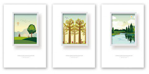 3PCS W434 Tree Grasslands  Forest Unframed Wall Canvas Print for Home Decoration - multicolor 40CM X 60CM X 3PCS