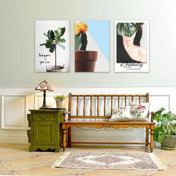 3PCS W440 Plant Letter People Unframed Wall Canvas Prints for Home Decorations - multicolor 20CM X 30CM X 3PCS