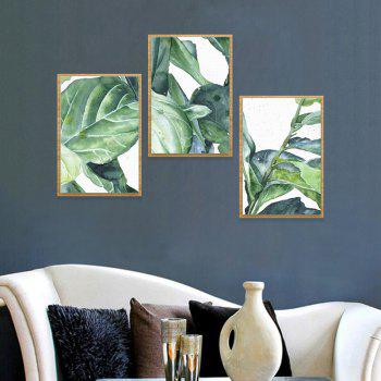 3PCS W413 Leaf Pattern Combination Frameless Home Decoration - SEAWEED GREEN