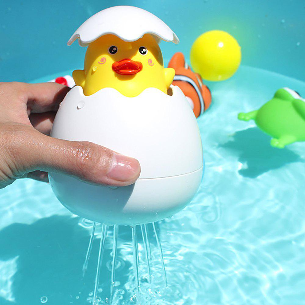 Baby Kids Yellow Duck Broken Egg Pulling Water Shower Bath Floating Toy - WHITE