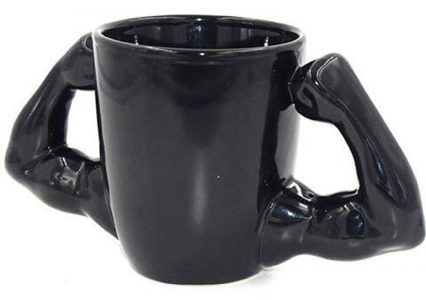 Personality Muscle Ceramic Arms Mark Anti-scalding Cup - BLACK