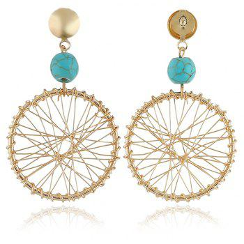 Fashion Dream Catcher Pendant Temperament Earrings - BLUE LAGOON