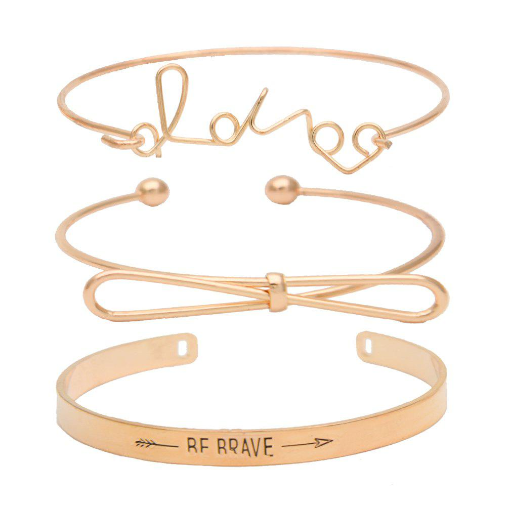 Concise Classic Three-layer Letter Bow Bracelet Set - GOLD