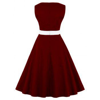 Plus Size Polka Dot Color Joining Together Dress - RED WINE 4XL