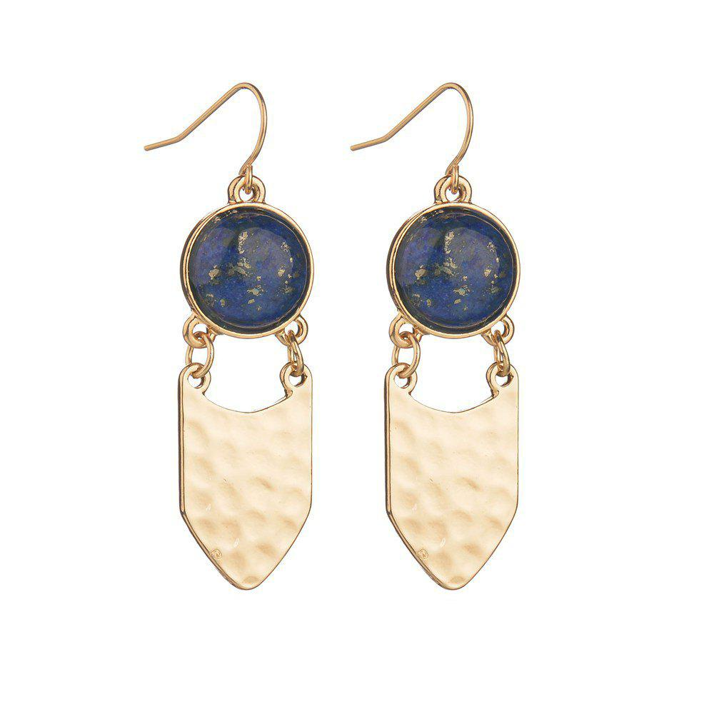 Fashionable and Exquisite Hand-Made Geometric Blue Shark Stone Earrings - LAPIS BLUE