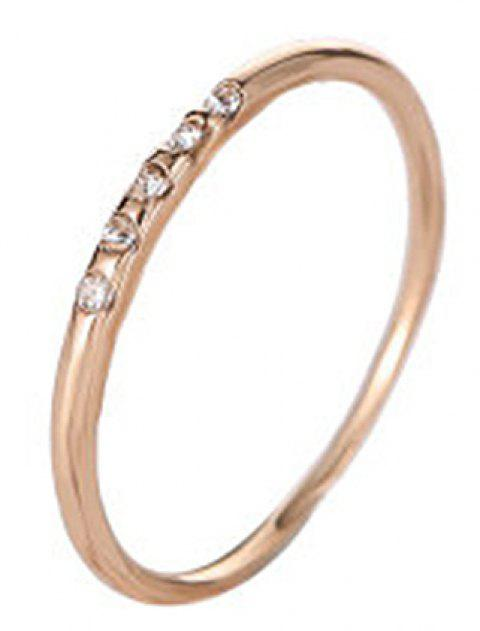 Fashion Concise and Exquisite 5 Fine Diamond Female Copper Drill Couple Ring - GOLD US SIZE 10