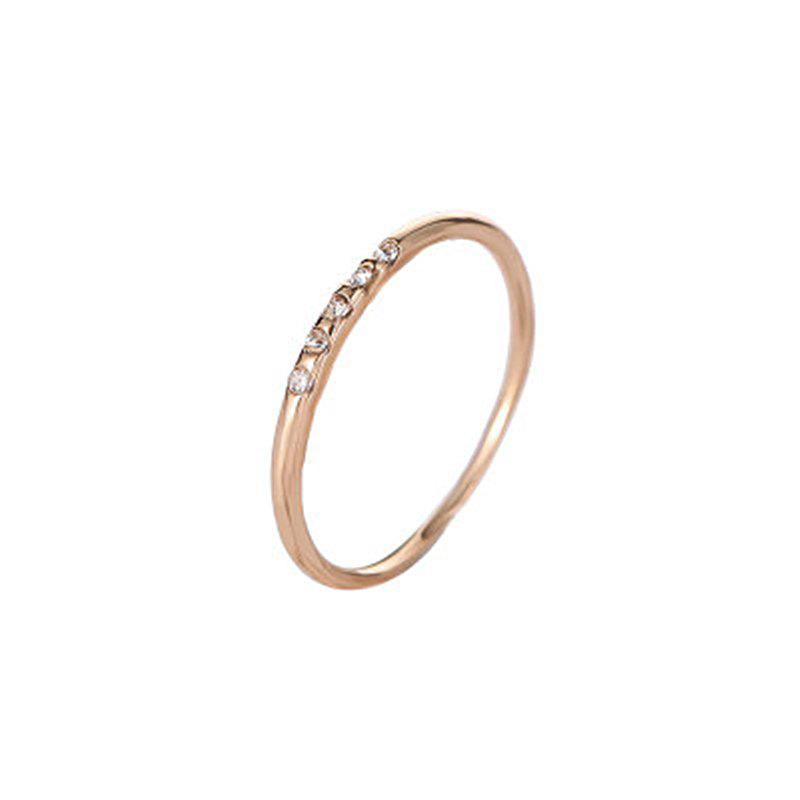 Fashion Concise and Exquisite 5 Fine Diamond Female Copper Drill Couple Ring - GOLD US SIZE 7