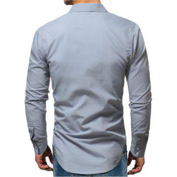 Embroidered Long Sleeved Casual Shirt - GRAY 4XL