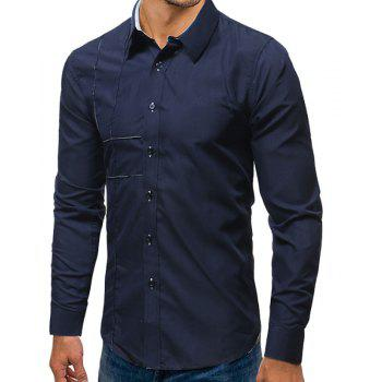 Embroidered Long Sleeved Casual Shirt - NAVY BLUE 2XL