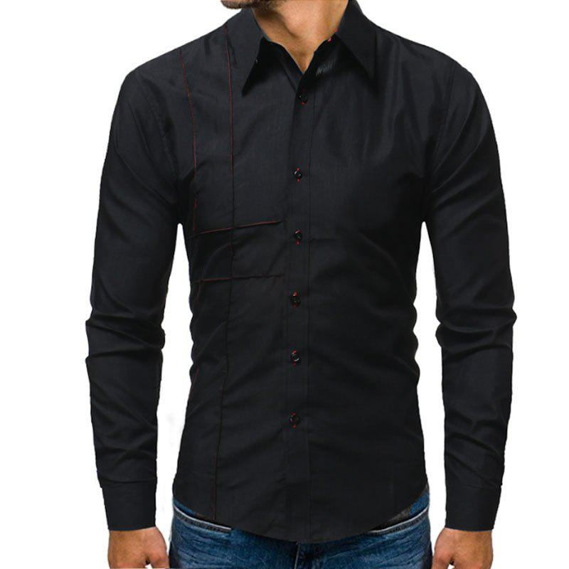 Embroidered Long Sleeved Casual Shirt - BLACK XL
